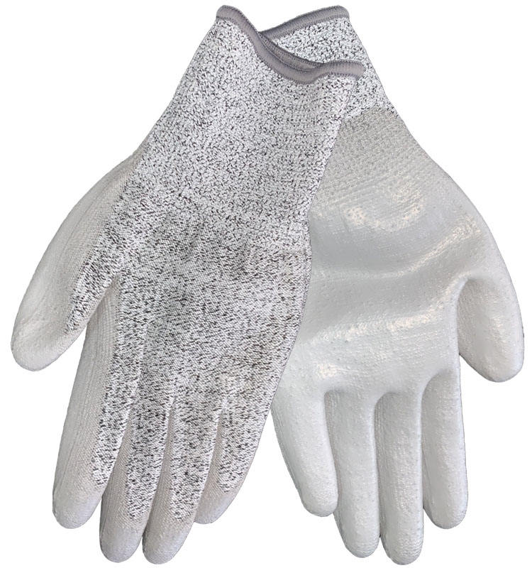Level 3 Grey PU coating HPPE Anti Cut Gloves