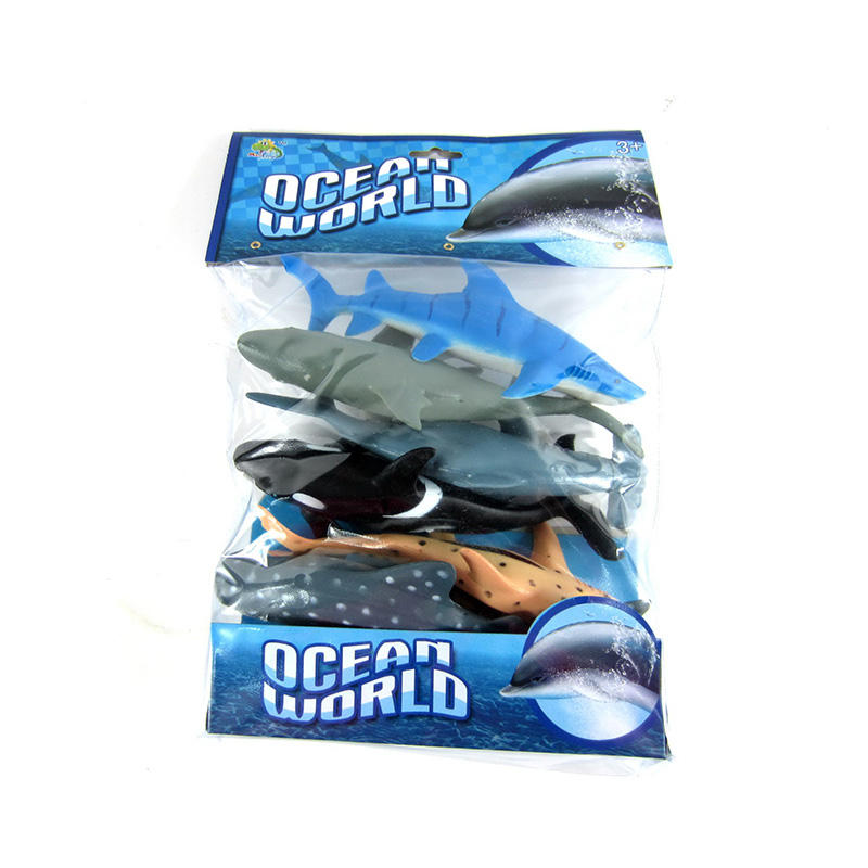 Simulation kids collection gift 7inch plastic sea animal shark toys set 6pcs