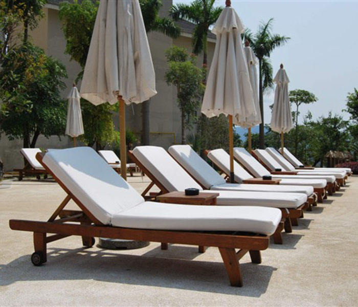 Wooden Resort Leisure Hotel Garden Swimming Pool Chair Patio Sun Lounger Sun Bed Beach Lounge Outdoor Chair