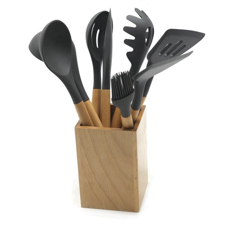 9 pcs nylon turner kitchen utensils set with wooden handle for cooking