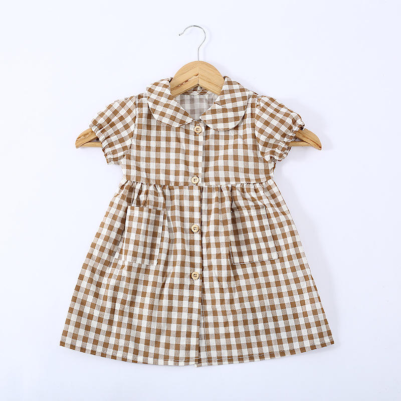 wholesale children's summer adorable baby girls dresses kid clothing girls girl causal brown checked dress