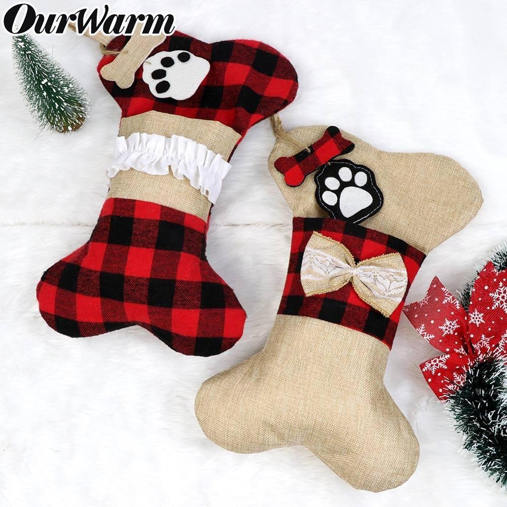 Ourwarm 16.5in*10in Dog Bone red and black plaid christmas stocking in bulk