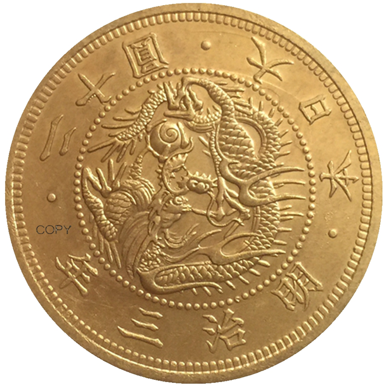 JP(26) Reproduction Japan 20 Yen Gold-Plated Asian Meiji 3 Year Coin Custom Decorative Metal Coins