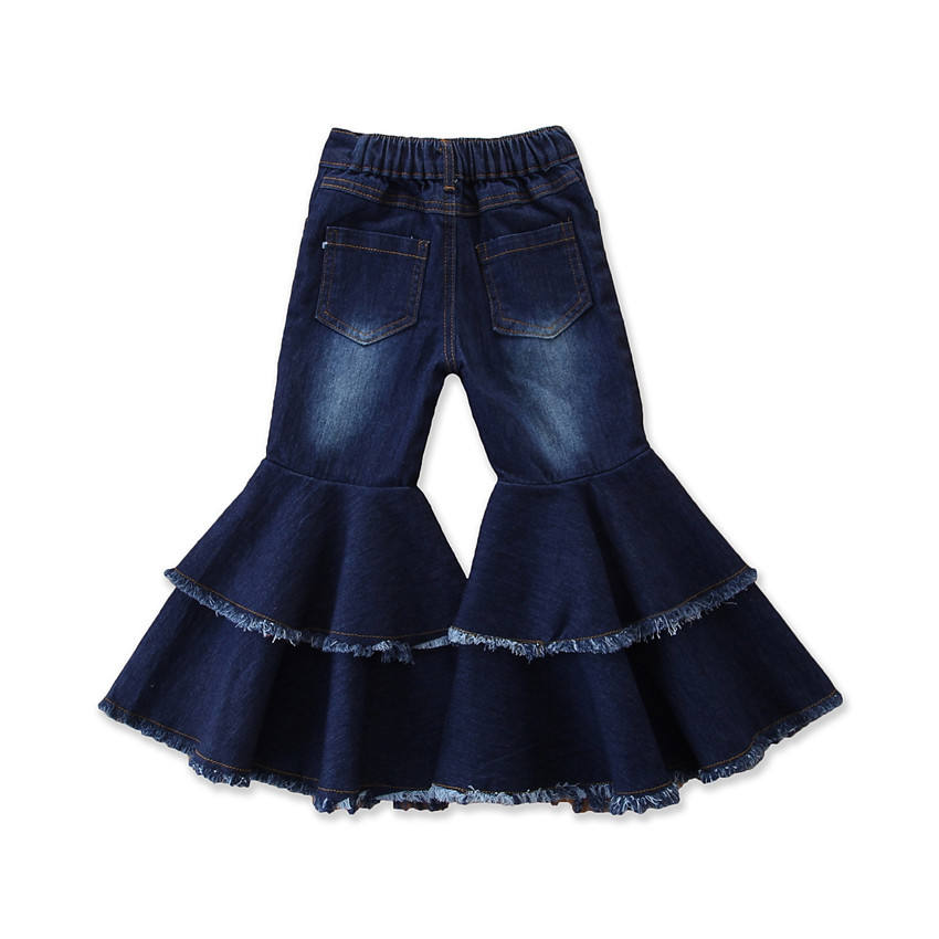 RTS children kids denim wide leg flare bell bottom pants girls boutique bell ruffle pants with pockets wholesale girl jeans
