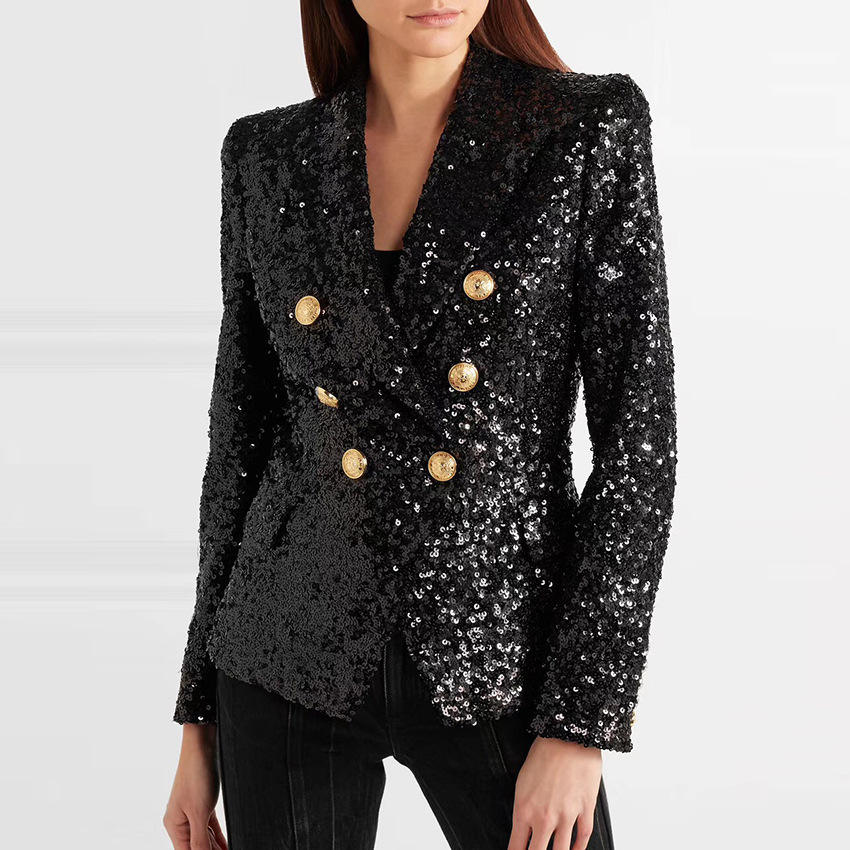 2019 women double breasted suits metal buckle bead sequin slim suits