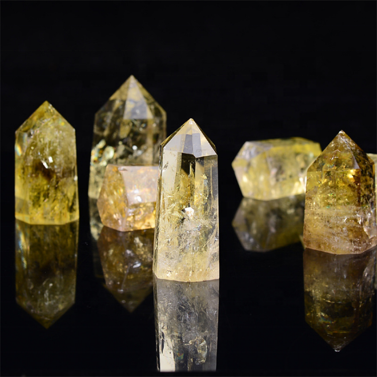 Customized Natural Citrine Quartz Crystal Terminated Point Yellow Crystal Wands