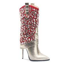 Rhinestone Fashion Designer Gold Heel Boots For Ladies High Heel Sexy Mid Calf Boots Women Winter Shoes Boots For Women