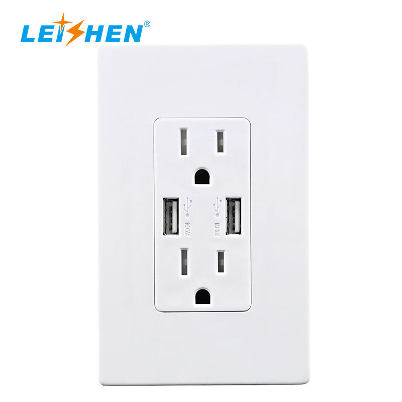 Smart Ultra High Speed USB Charger Outlet 15 /20Amp TR Receptacle with Screwless Wall Plates