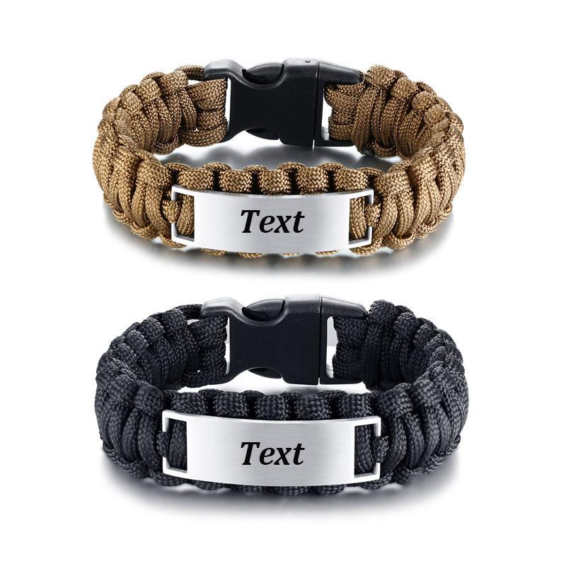 Manufacturing wholesale custom logo stainless steel plate paracord survival bracelet for men ID bracelet