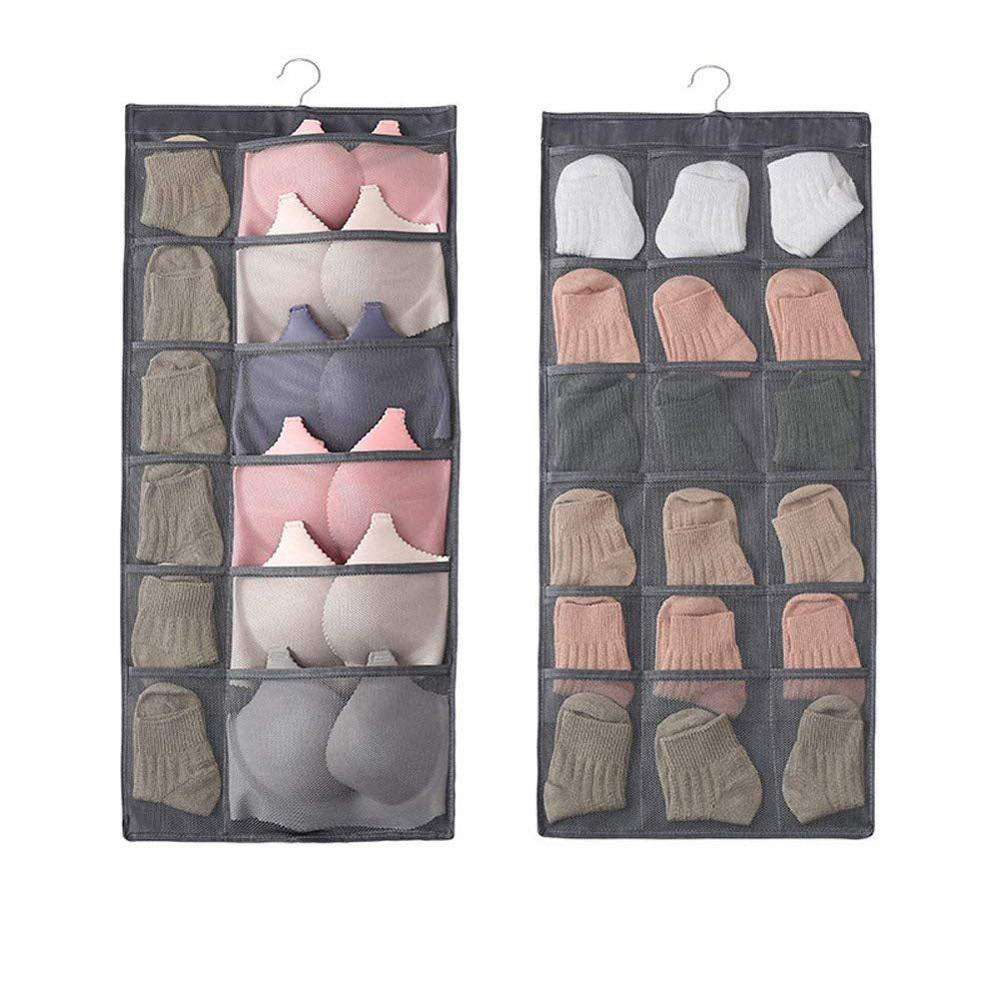 Mesh Pockets Hanging Storage Organiser with Metal Hanger, Dual-Sided Hanging Closet Organizer for Underwear, Bra and Sock