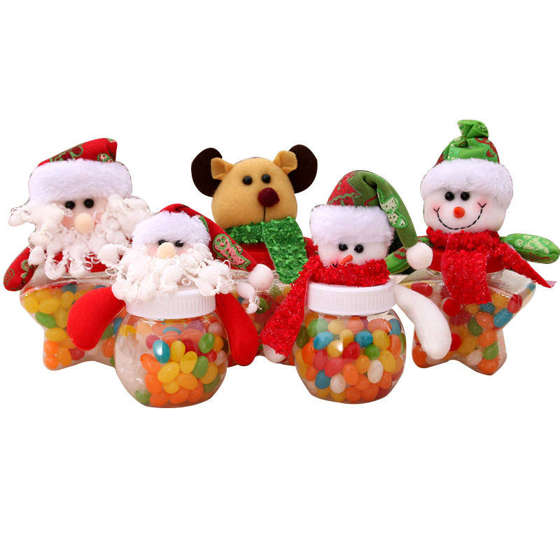 New Product Christmas candy box jar round old snowman fabric doll candy box kids gifts box Christmas supplies decoration