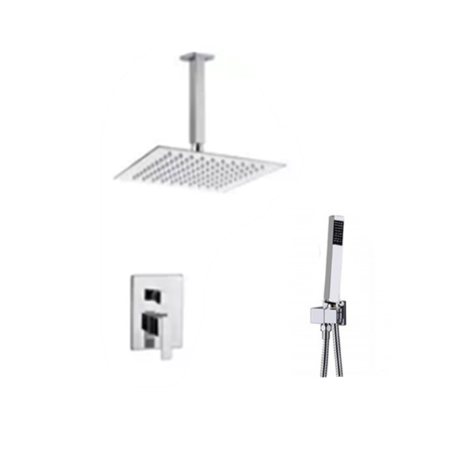 16inch shower set with Square shower arm and brass handheld shower head with brass faucet