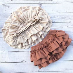 Boutique Ribbed Cotton Ruffled Girls Baby Diaper Baby TUTU Bloomers Newborn Infant Baby Clothing