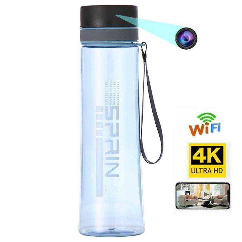 WiFi Hidden Camera HD 4K Wireless Spy Camera Water Bottle Nanny Cam Home Surveillance Voice Recording Devices