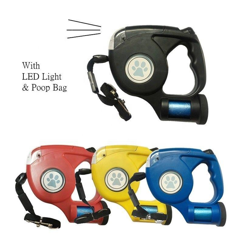 Wholesale factory supply LED Light flashlight and poop bag Retractable Dog Leash with Waste Bag Dispenser