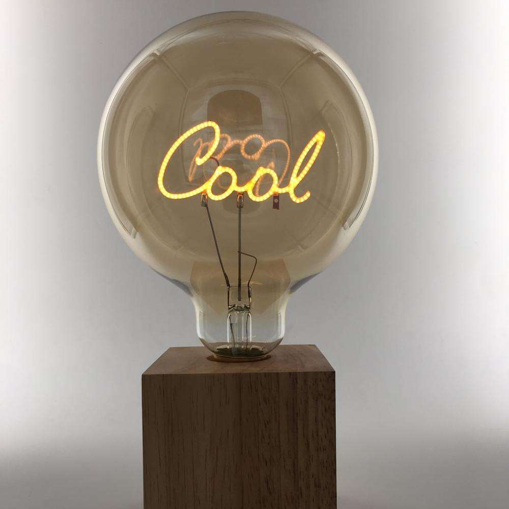 Factory customized vintage letter shape led filament bulb G80 G95 G125 table lamp with wooden base f0r home decoration