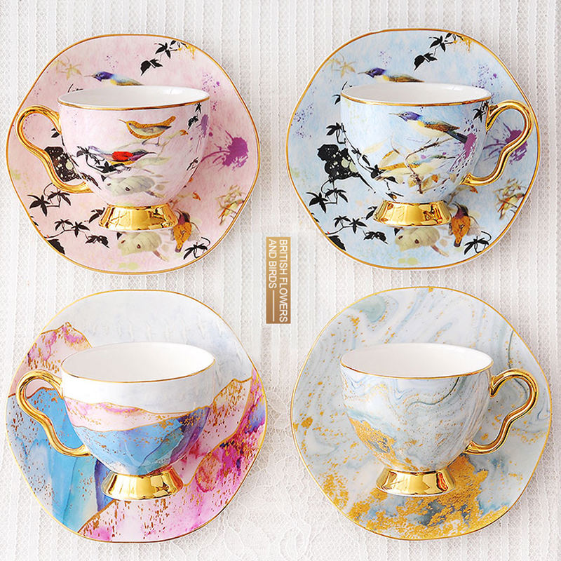 Beautiful Cups And Saucers Flower decal Used Fine Bone China English Traditional Style Coffee cup European tea Set