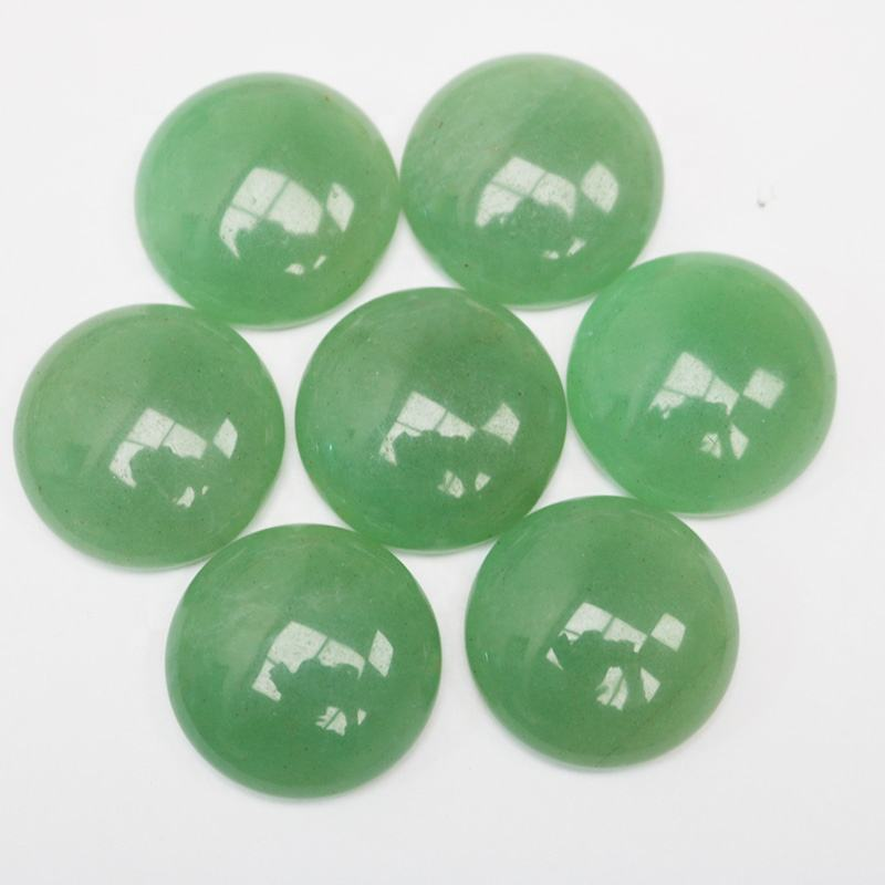 Natural green aventurine flat back stone green round cabochon stone for DIY jewelry ring massager making