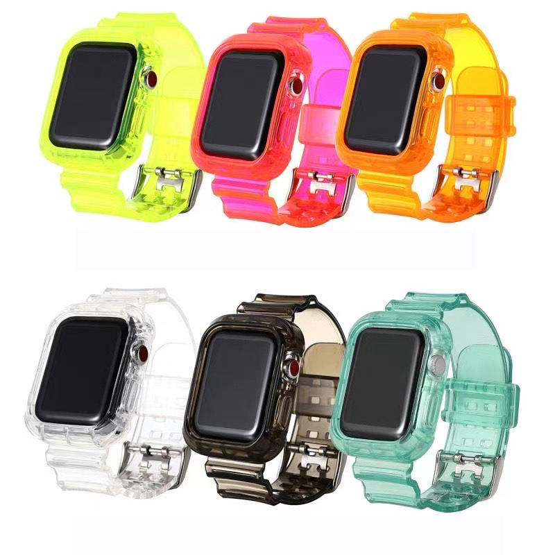 For Apple Watch Band Neon Color TPU Compatible with iWatch Bands Replacement Strap 42mm 44mm + Protective Frame Case