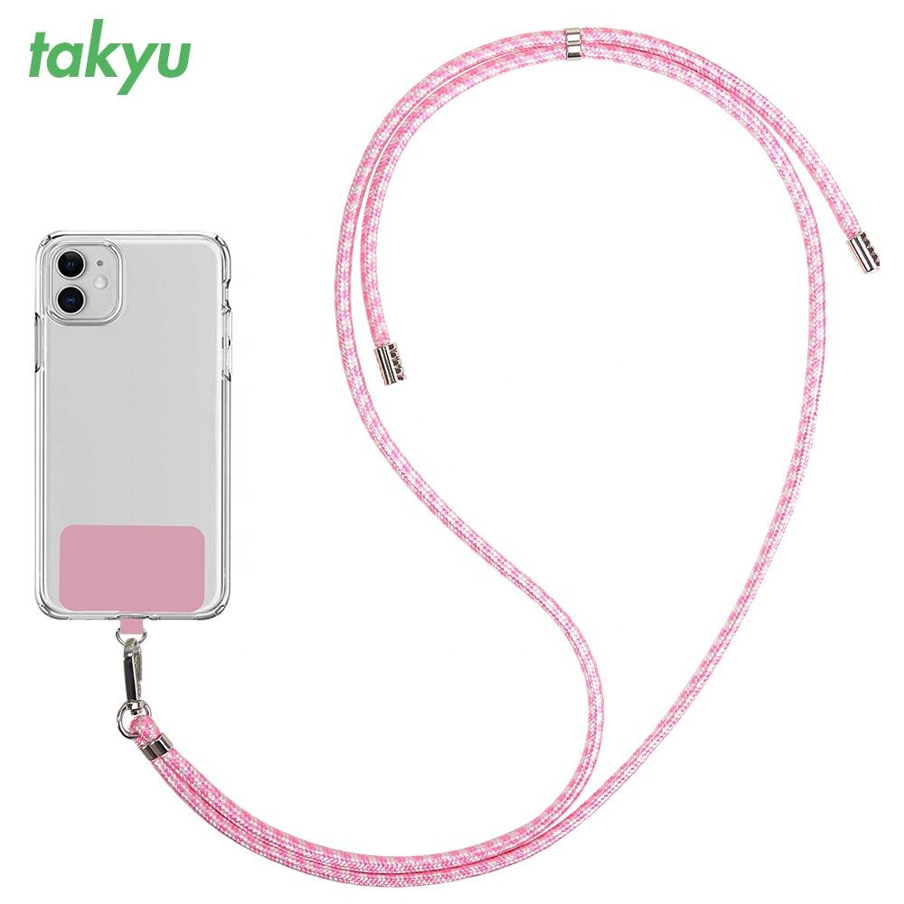 Promotional Gift retractable neck strap lanyards Mobile Necklace Crossbody rope keychain pink woven lanyard phone holder
