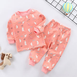 Warm Round Neck Pajamas Children Cartoon Print Kids Baby Nightwear