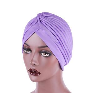 Wholesale Amazon Hot Sale Women Knotted Turban Beania Muslim Indian Hat Plain Cancer Cap Sleep Cap Bonnets TJM-24