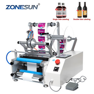 ZONESUN TB-190 Wine Double Side Sticker Round Water Semi Automatic Digital Bottle Labeling Machine For Plastic Bottle