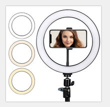 "10"" Selfie Ring Light with 170cm Tripod Stand 1.7m light stand with dimmable LED ring light round lamp for live streaming"