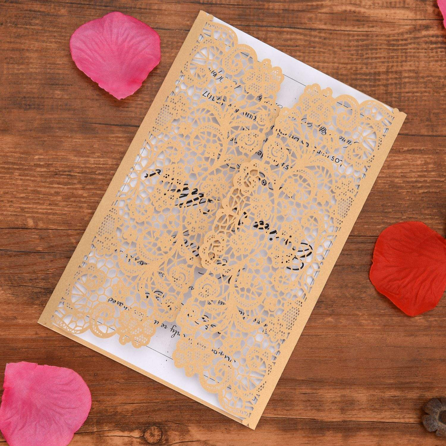 Gold acrylic wedding invitations glitter laser cut invitations glass wedding invitations
