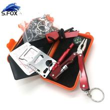 Outdoor Emergency SOS Gear Kit Survival Kit 6 In 1 with Waterproof Box for Camping Hiking Travelling Climbing Adventures