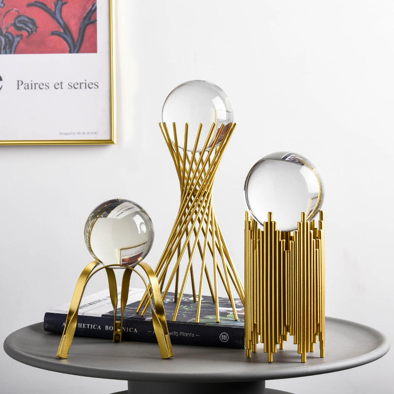 Amazon Hot Selling Crystal Ball Ornaments Luxury Metal Crafts Other Home Decoration Accessories