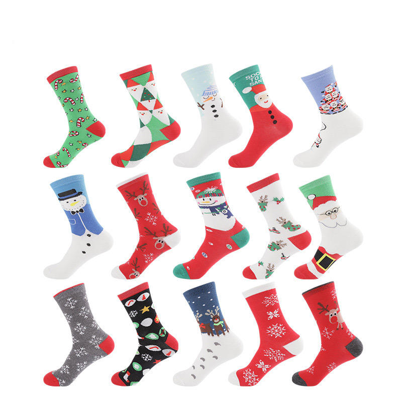 Ins cute cotton women christmas socks breathable happy dress sox manufacturers girls new year red compression crew socks