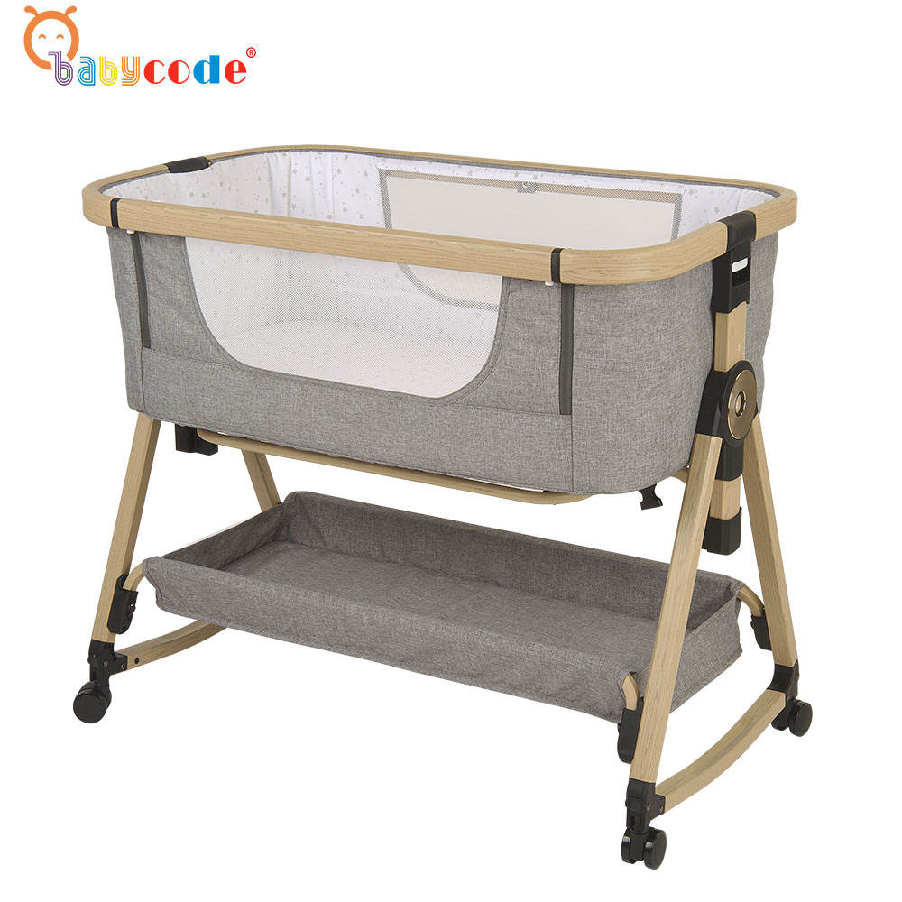 2020 new aluminum wooden look finished adjustable rocking baby crib