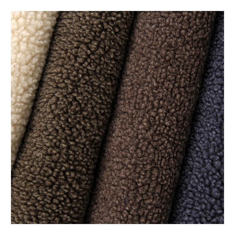 Knitted Polyester Long Pile Sherpa Fur Fabric Plush Fabric