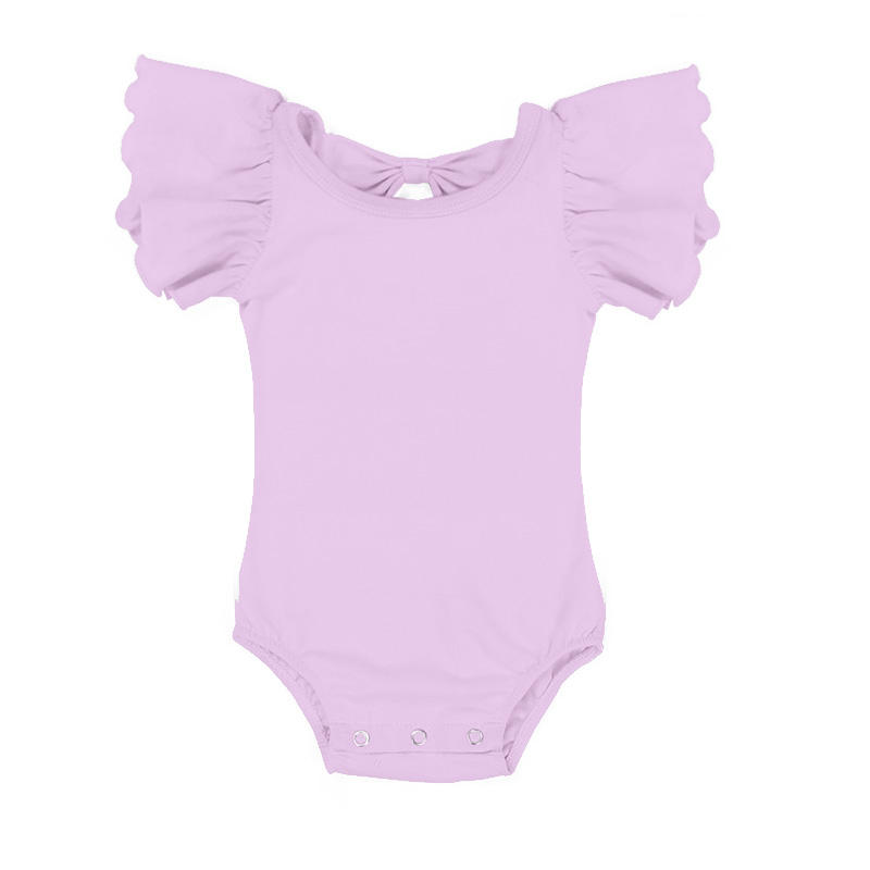 Girl Flutter Sleeve Toddler Cotton Bodysuit Clothes Romper Baby Leotards