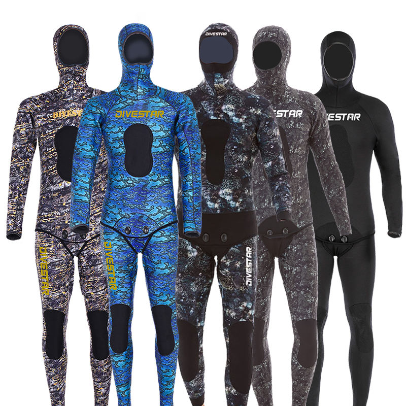 DIVESTAR 2020 New wholesale Super Stretch 3mm5mm Neoprene Men's Hoodie Full Body Spearfishing Wetsuit