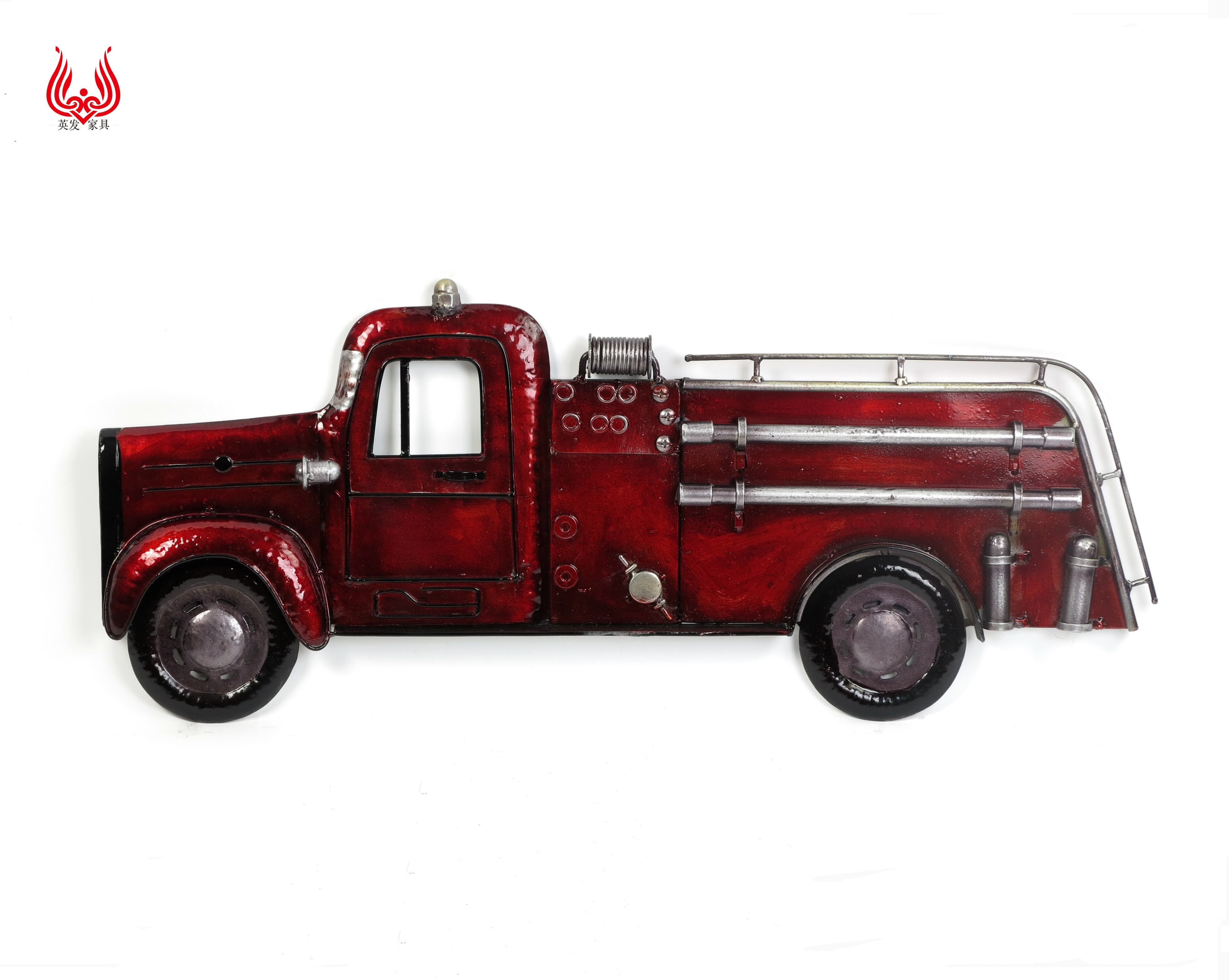 YINFA Red Half Truck City Style Car Vintage Home Decoration Metal Wall Art Hanging House Decor