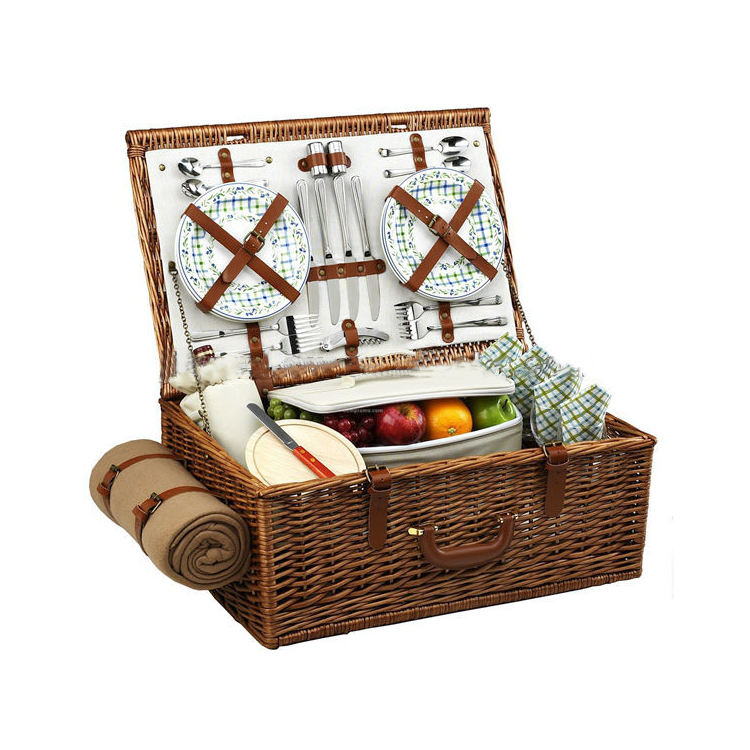 Set Wicker Basket With Lid For Picnic Picnic Basket Insulated cesto picnic
