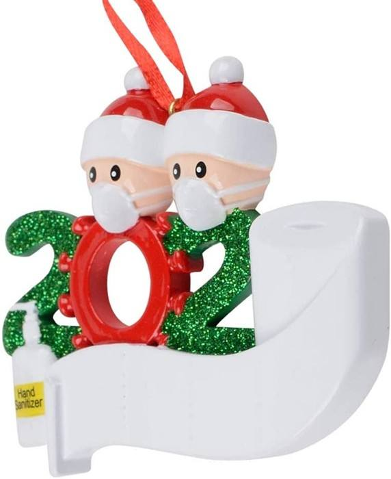 polyresin/ resin DIY Name family 2 2020 Toilet Paper Christmas Ornaments