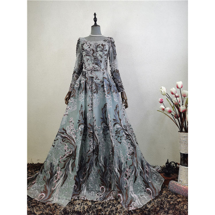 China Suppliers Sexy Bare Back Bead Embroidered Evening Dress Silk