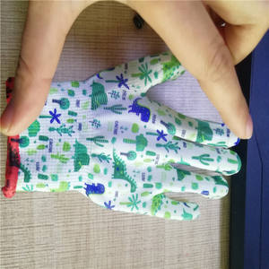 13G nylon nitrile coated kids garden gloves