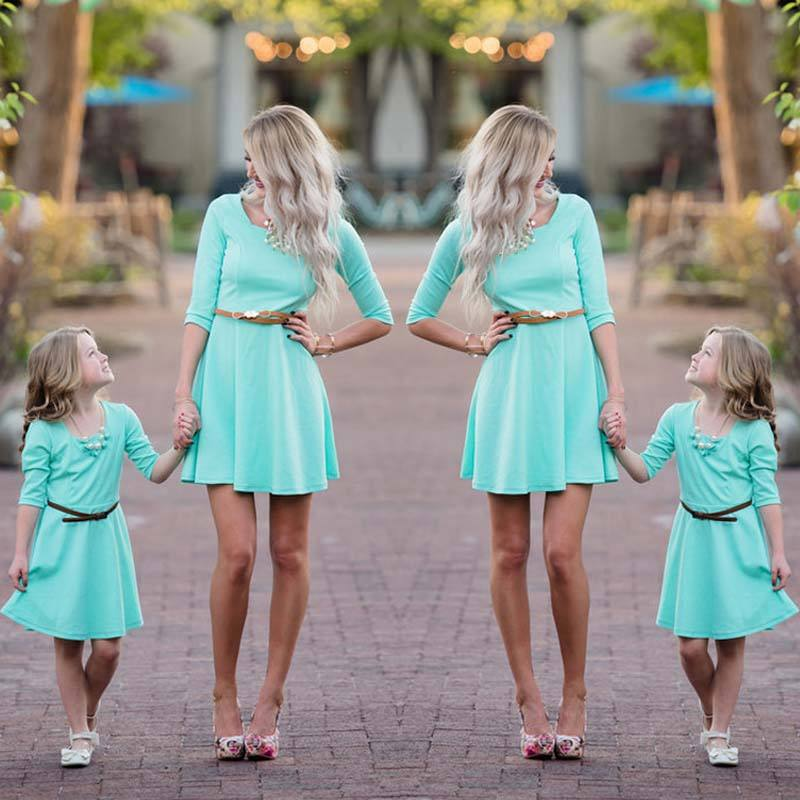 Womens Mother Daughter Matching Dresses Summer Girl Short Dress Clothes Outfit