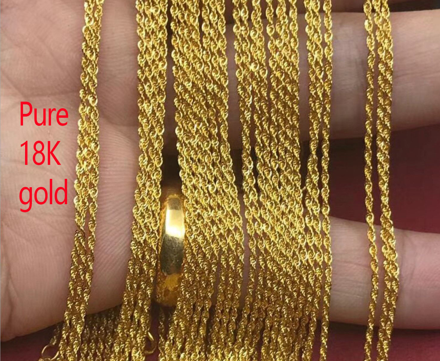 Pure Gold Jewely 18K Solid Gold Necklace Rose Gold Choke Rope Chain Necklace