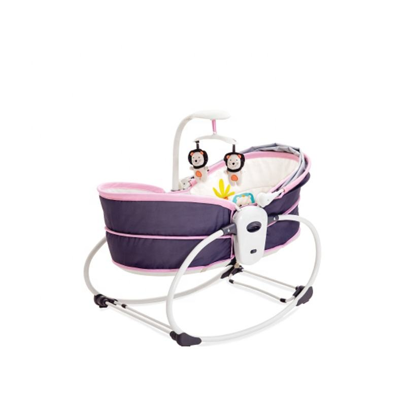 new product 5 in 1 pink newborn baby cradle swing bed for wholesale