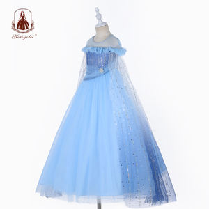 Customized Girls Crystal Fancy Dress Ankle Length Cosplay Frozen Elsa Anna Party Blue Princess Dresses With Long Shawl