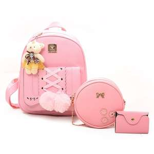 New Design Factory Small Bear Women Knapsack 4 Pcs High quality PU Leather Mochila Backpack Set