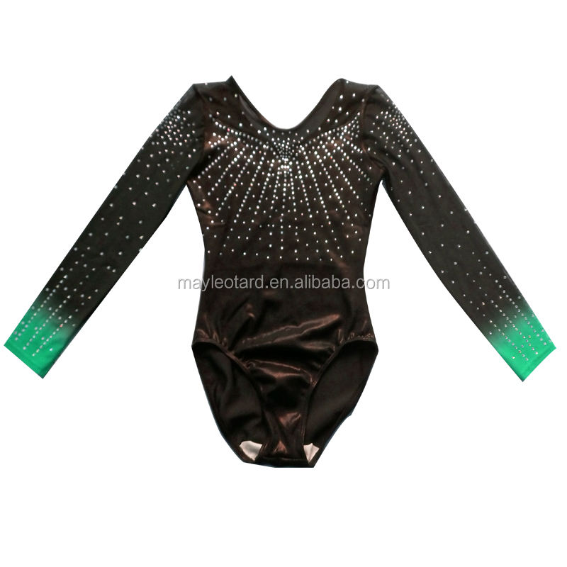 2020 Latest Competition ombre Rhinestone gymnastics multicolored leotards professional cheap dance leotard