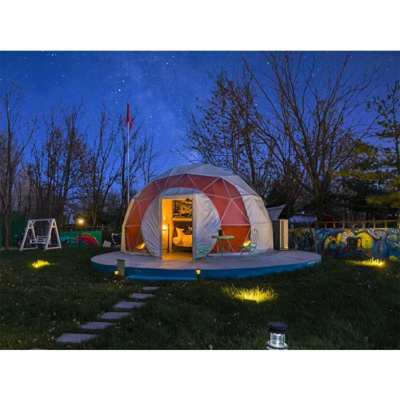 Outdoor luxury safari lotus 5m geodesic family glamping dome tent for sale