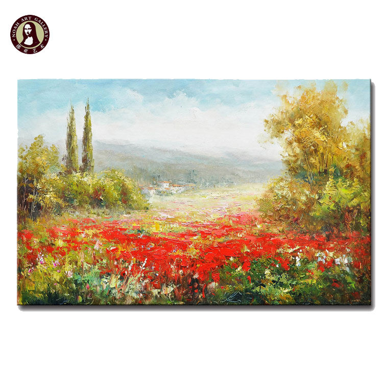 Palette Knife Plant Painting Gallery Italian Red Flowers Painted On Canvas