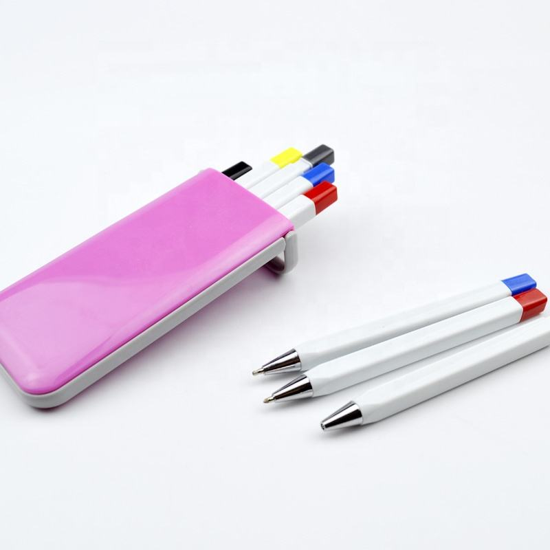Gift box combo style promotional ball pen mechanical pencil highlighter set